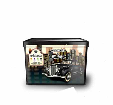 מארזי פח Extrasso וינטג' מרובעים של 100 קפסולות קפה תואמות +זוג כוסות אספרסו וסט שבלונות מתנה - תמונה 4