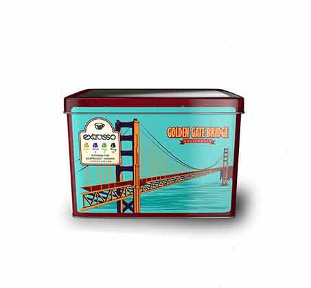 מארזי פח וינטג' מרובעים של 100 קפסולות קפה תואמות  +זוג כוסות אספרסו וסט שבלונות מתנה