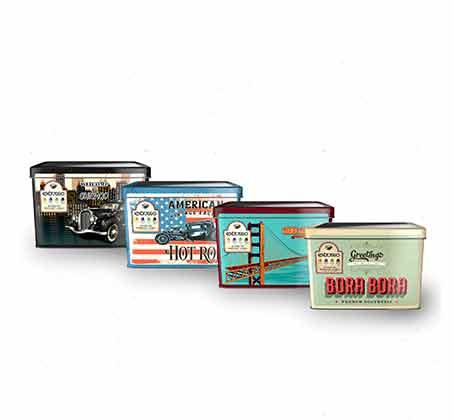מארזי פח Extrasso וינטג' מרובעים של 100 קפסולות קפה תואמות +זוג כוסות אספרסו וסט שבלונות מתנה - תמונה 5