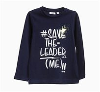 חולצת טי ארוכה לילדים בצבע כחול כהה