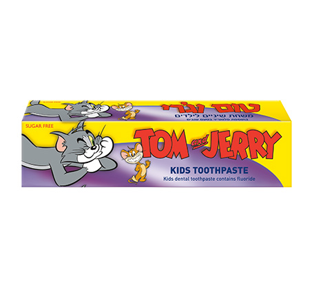 10 יחידות משחת שיניים לילדים בטעם ענבים תכולה 60 גרם טום וג'רי