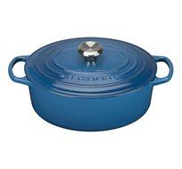 """סיר כחול מרסיי 29 ס""""מ אובלי ברזל יצוק לכל סוגי הכיריים ולתנור"""
