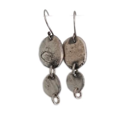 זוג עגילים בסגנון אתני מכסף טהור 925 מושחר