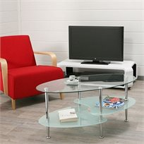 שולחן סלון מעוצב וחדשני בצורת אליפסה עם מדף תחתון מזכוכית חלבית בשילוב מתכת