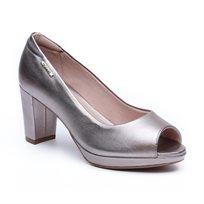 Modare - נעלי עקב פיפ טואו קלאסיות לנשים בצבע כסף מטאלי
