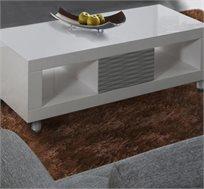 שולחן סלוני דגם NOVIA עשוי MDF בגימור אפוקסי לבן עם אפור LEONARDO