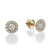 עגילי זהב 14 קראט משובצים יהלומים