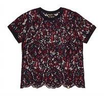 חולצת תחרה קצרה Tori Allover Eyelash לנשים  - בורדו/שחור