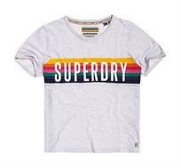 טי שירט עם לוגו צבעוני Rainbow Graphic לנשים  - אפור