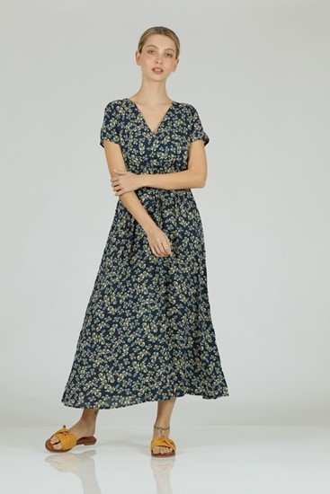 שמלה פרחים ויוי כחול