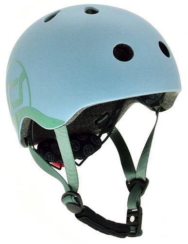 קסדה בטיחותית עם מנגנון התאמה לראש, תאורת Led אחורית וסוגר מגנטי - כחול