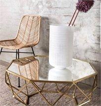 שולחן סלון מתומן משטח זכוכית מראה בצורת יהלום רשת זהב