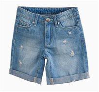 מכנסי ג'ינס ברמודה לילדות עם קרעים