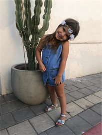 שמלת Oro לילדות (מידות 2-7 שנים) ג'ינס כיסים
