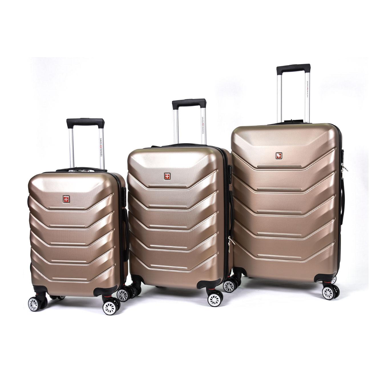 סט מזוודות קשיחות 3 גדלים Swiss - צבע לבחירה