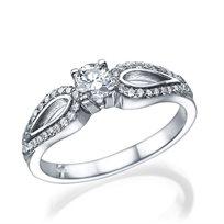 """טבעת אירוסין מעוצבת """"פרפר"""" 0.76 קראט זהב לבן"""
