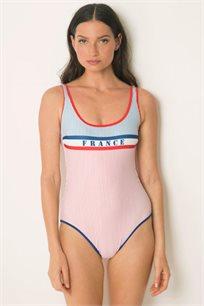 בגד ים שלם בגזרה קלאסית עם גב חשוף בצבע כחול אדום ולבן
