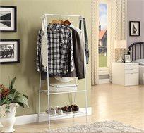 מעמד לתליית בגדים מעוצב ופרקטי עם 2 מדפים להנחת תיקים ונעליים
