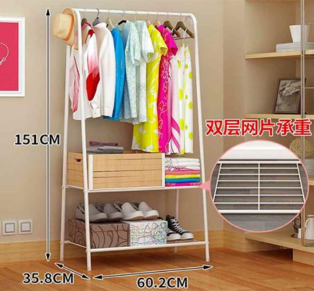 מעמד לתליית בגדים מעוצב ופרקטי עם 2 מדפים להנחת תיקים ונעליים - תמונה 3