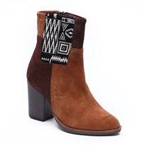 Desigual Navajo Folk Boot - מגף מיד בצבעי חום עם הדפס מלבני גיאומטרי