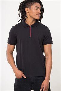חולצת פולו חצי רוכסן לגברים - שחור