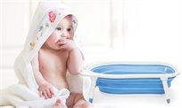 אמבטיה מתקפלת לתינוקות בצורת פרקטית ונוחה המתאימה לתינוקות מלידה ועד גיל 12 חודשים