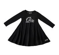 שמלת ג'רזי מסתובבת עם שרוול ארוך - שחור בשילוב הדפס חד קרן