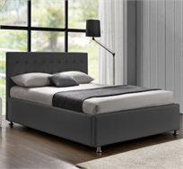 מיטה זוגית מרופדת בד או דמוי עור דגם עופרה, בסיס עץ מלא HOME DECOR