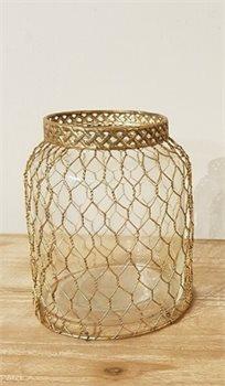 אגרטלי זכוכית ורשת מעוצבת זהב גובה 27 ס''מ 141707