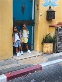 חליפת שורט Oro לילדות (מידות 2-7 שנים) תכלת לבן