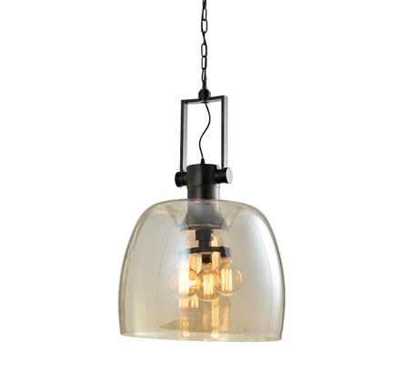 מנורת תליה בעיצוב המשלב זכוכית ומתכת דגם מתן קוניאק