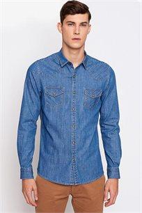 חולצת ג'ינס מכופתרת לגבר בגזרת אקסטרה סלים DEVRED דגם 4163186 בצבע כחול