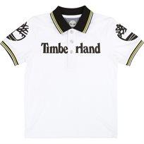 Timberland טימברלנד חולצת צווארון (3-16 שנים) - לבן סמל באמצע