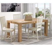 פינת אוכל כפרית + 6 כסאות ביתילי מעץ בוק שמנת דגם בונטון