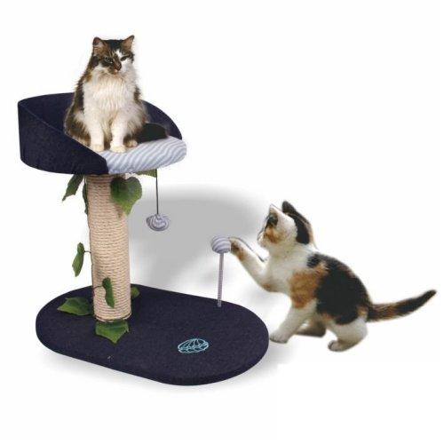 מתקן גירוד לחתול 2 קומות מרפסת כחולה