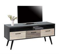 שידת טלוויזיה מעוצבת בסגנון מודרני ומינימליסטי בגווני עץ