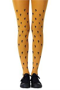 גרביון עם הדפס שחור Prickly Pear Mustard בצבע חרדל