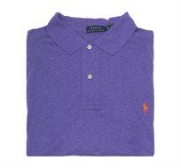 חולצת פולו שרוול ארוך לגבר POLO RALPH LAUREN CLASSIC FIT מידות גדולות בצבע סגול עם לוגו כתום