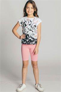 חולצת טריקו קצרה לילדות - לבן