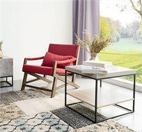 שולחן צד סלוני עשוי עץ עם מדף תחתון בצבע עץ וחלק עליון בצבע בטון