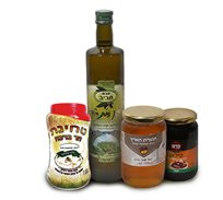 """מארז טוב הארץ הכולל 1 ק""""ג דבש טהור, שמן זית, סילאן וטחינה"""