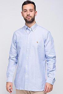 חולצה מכופתרת תכלת לוגו חום POLO RALPH LAUREN