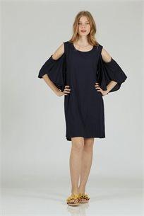 שמלה כתף כחול - קקאו