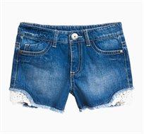 מכנסי ג'ינס קצרים לילדות עם עיטורי תחרה