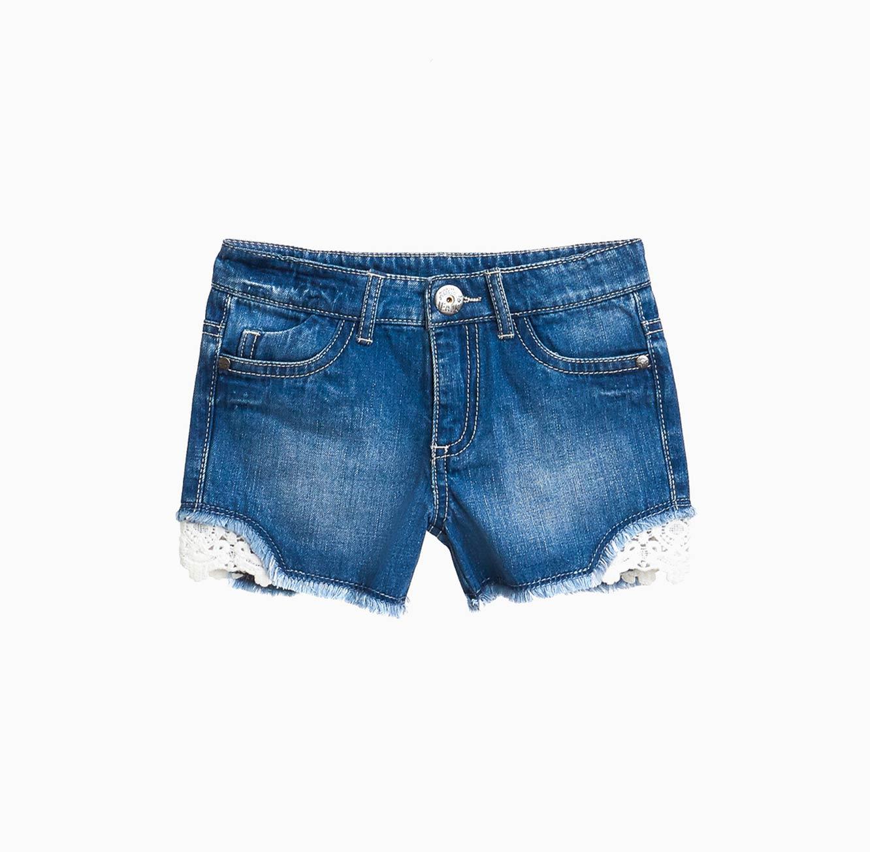 מכנסי ג'ינס קצרים OVS לילדות עם עיטורי תחרה