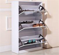 ארון נעליים עם שלושה מדפים וחיפוי מראות מלא, לאחסון מספר רב של זוגות נעליים בצורה נוחה ומרווחת