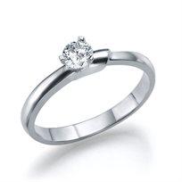 """טבעת אירוסין זהב לבן  """"קרוליין"""" 0.25 קראט F/Si1"""