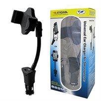 זרוע אוניברסלית לרכב + מטען לסמארטפונים מבית SIGMA דגם SIHC05