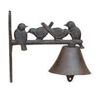 פעמון דקורטיבי מברזל יצוק בשילוב דמויות ציפורים לכניסה לבית או לעיצוב הגינה