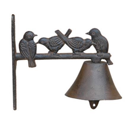 פעמון דקורטיבי מברזל יצוק בשילוב דמויות ציפורים